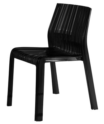 Furniture - Chairs - Frilly Stacking chair - opaque / Polycarbonate by Kartell - Opaque black - Polycarbonate