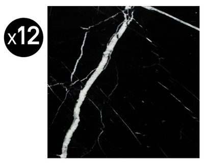 Déco - Stickers, papiers peints & posters - Sticker Cabochons marbre / Imitation carrelage ancien - Lot de 12 - Maison Martin Margiela - Marbre noir - Papier vinyl