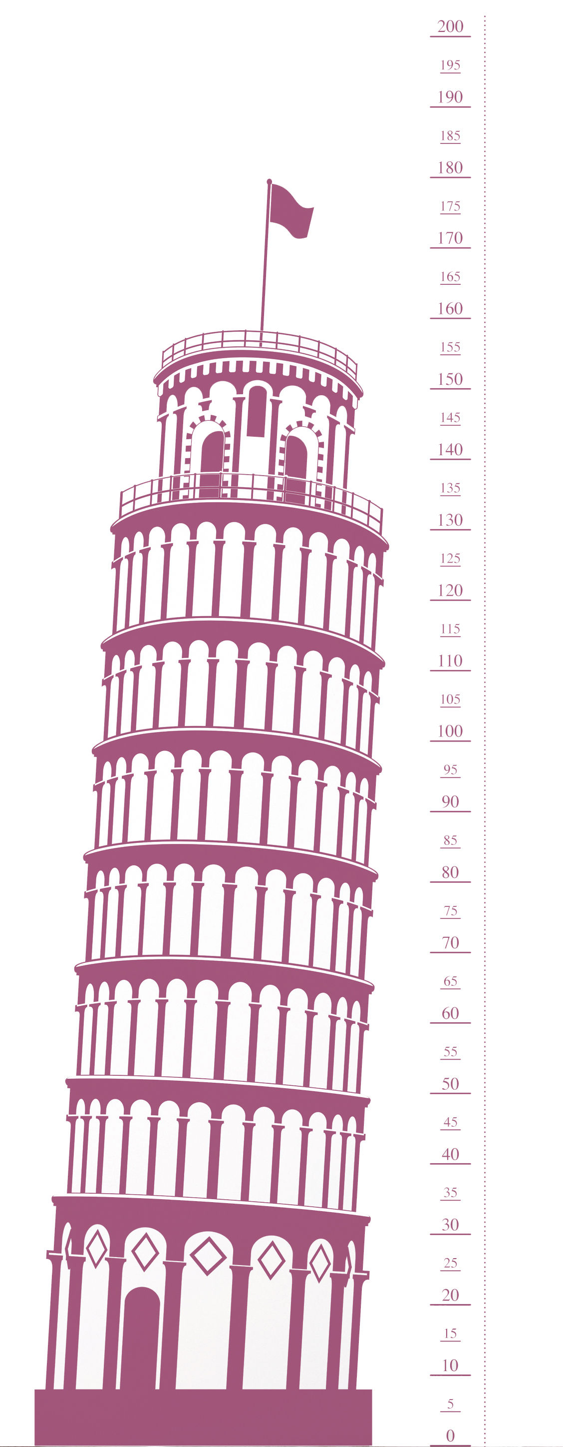 Dekoration - Für Kinder - Measuring Souvenir from Pisa Sticker Messlatte - Domestic - Rosa - Vinyl