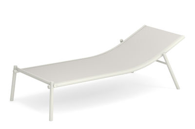 Outdoor - Sun Loungers & Hammocks - Terramare Sun lounger - / Fixed - Stackable by Emu - White - Technical fabric, Varnished aluminium