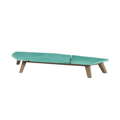 Table basse Rafael Large / 170 x 70 cm - Pierre de lave & teck décapé - Ethimo vert en pierre