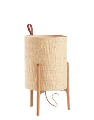 Lighting - Table Lamps - Greta Table lamp - / Ø 26 x H 44 cm by Carpyen - Natural / Oak structure - Hessian, Solid oak
