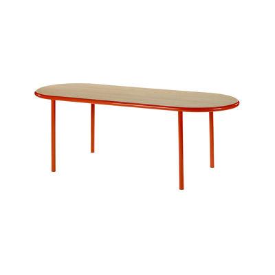 Table ovale Wooden / 210 x 80 cm - Chêne & acier - valerie objects rouge/bois naturel en bois