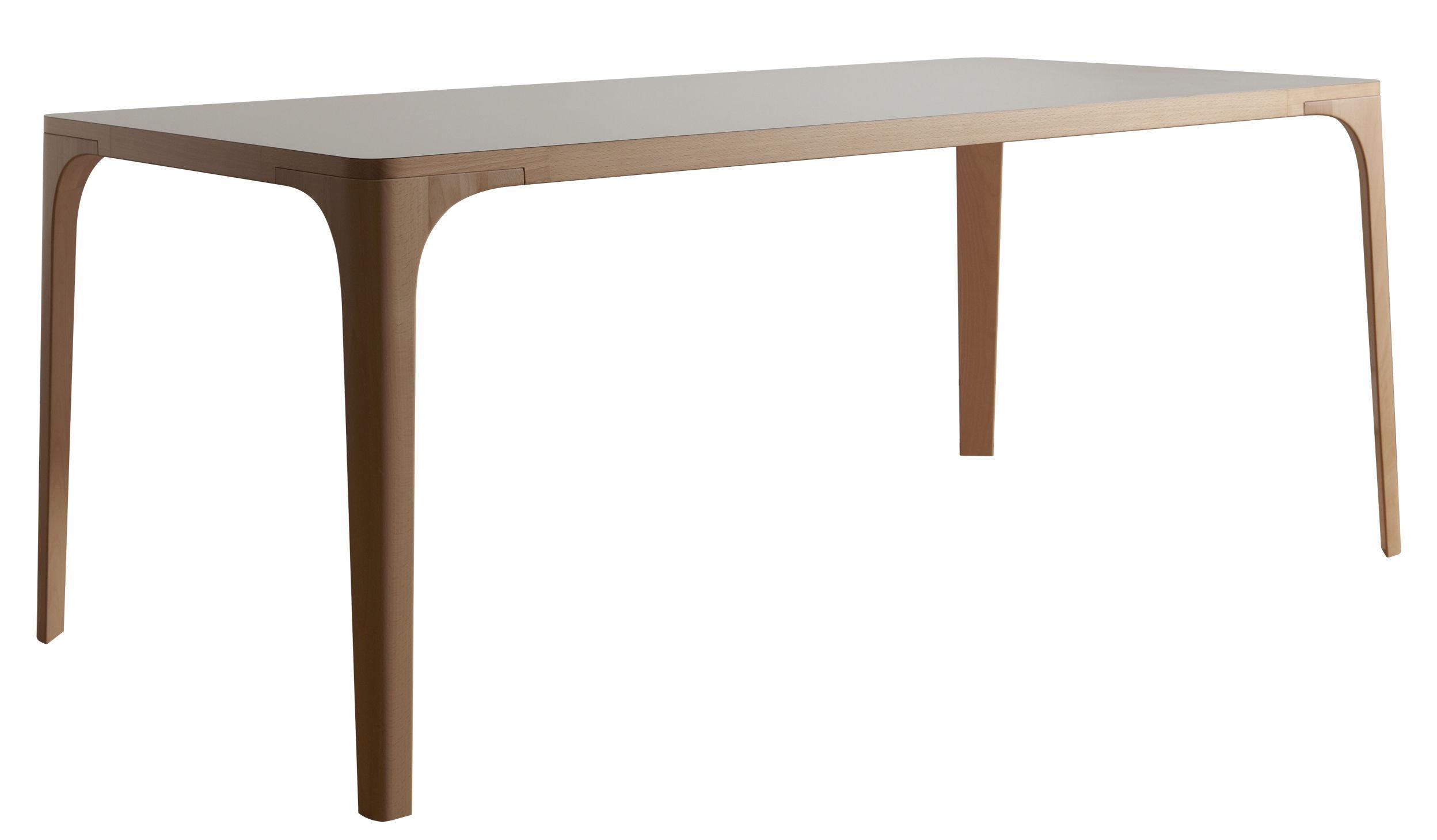 Mobilier - Tables - Table rectangulaire Arba / Bois - L 180 cm - Internoitaliano - Blanc / Pieds hêtre - Hêtre massif, Stratifié