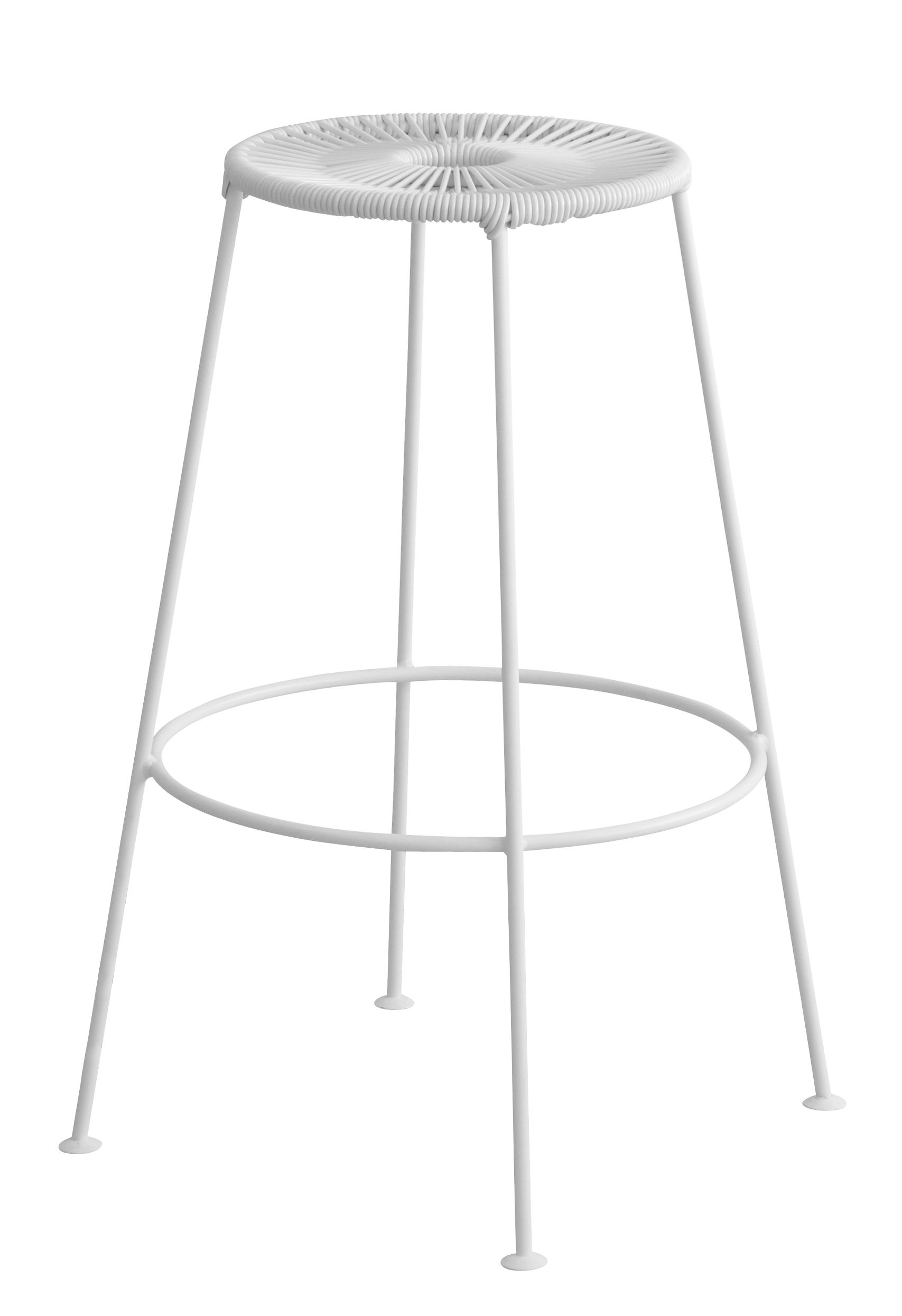 Mobilier - Tabourets de bar - Tabouret de bar Acapulco / H 75cm - OK Design pour Sentou Edition - Blanc - Acier laqué époxy, Corde plastique
