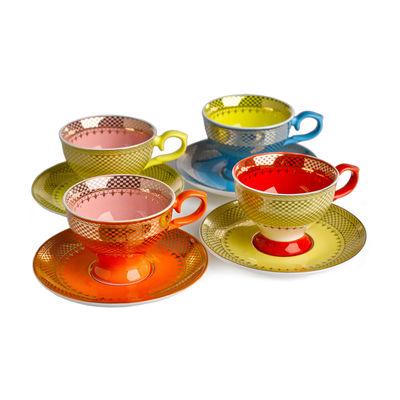 Arts de la table - Tasses et mugs - Tasse à espresso Grandma / Set de 4 - Avec soucoupes - Pols Potten - Multicolore - Porcelaine émaillée