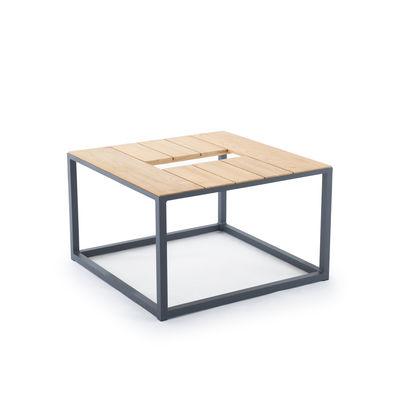 Arredamento - Tavolini  - Tavolino Fire Table - / Postazione Per Camino bioetanolo - 80 x 80 cm di Unopiu - Tavolo basso / Teak - Alluminio, Teck