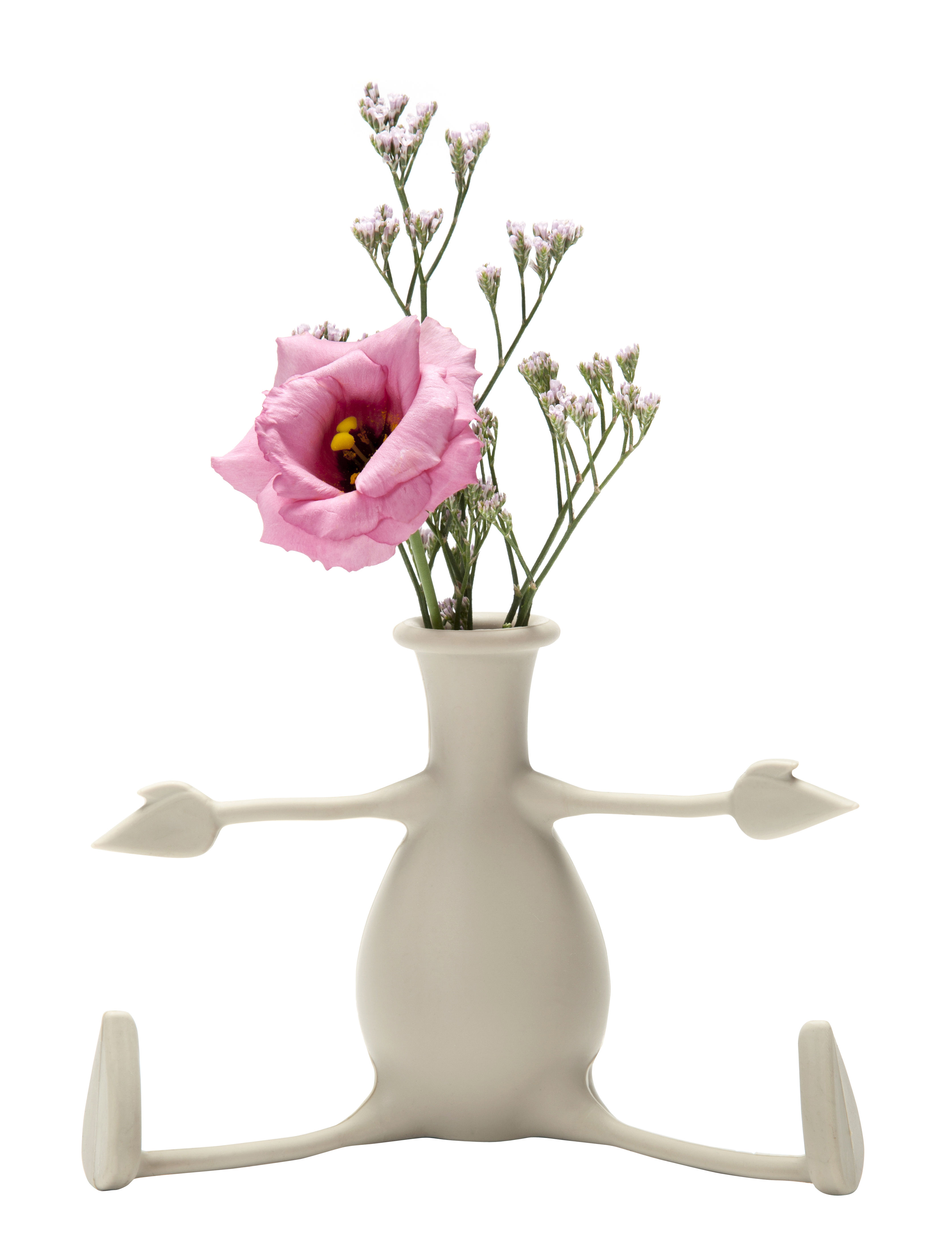 Interni - Vasi - Vaso Florino - / Silicone - Braccia e gambe flessibili di Pa Design - Grigio-beige  - Silicone