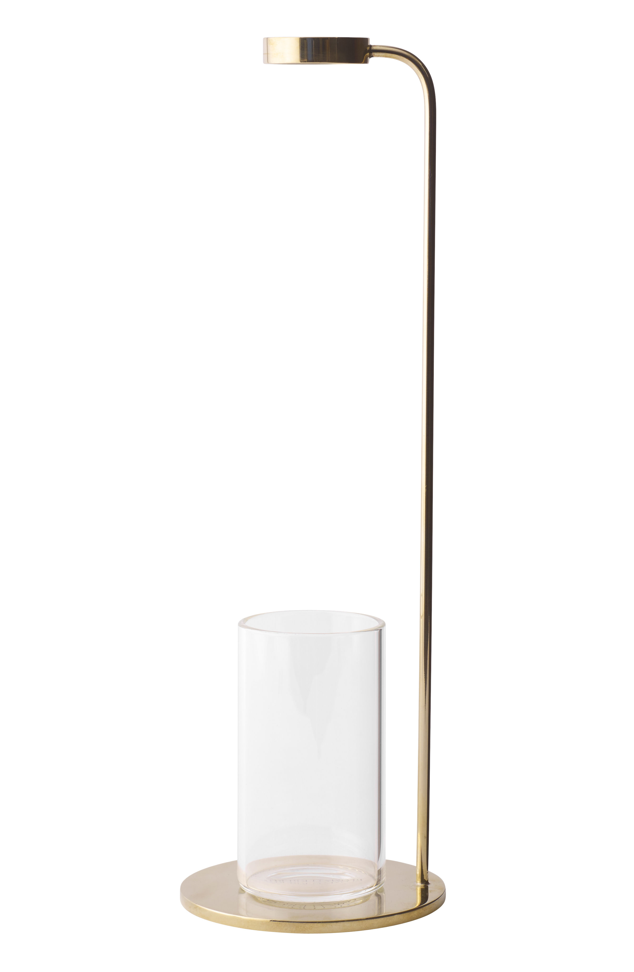 Interni - Vasi - Vaso per un solo fiore Stem / H 32 cm - Cristallo & ottone - Menu - Ottone / Trasparente - Ottone, Trasparente