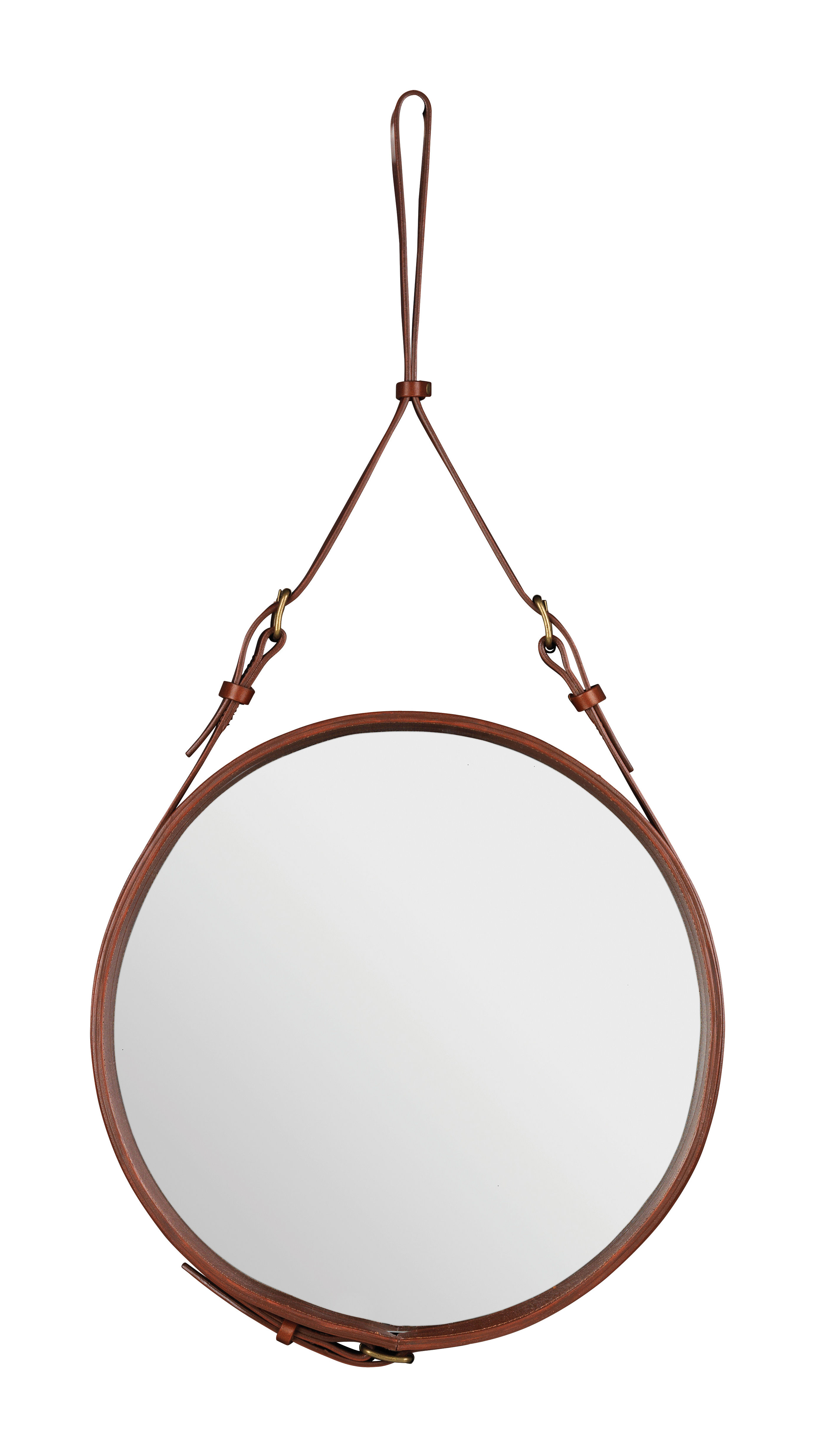 Furniture - Mirrors - Adnet Wall mirror - Ø 45 cm by Gubi - Brown - Leather
