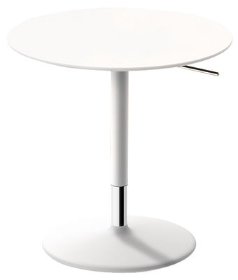 Furniture - Coffee Tables - Pix Adjustable height table - Ø 50 cm / Adjustable height 48 to 74 cm by Arper - White - Lacquered metal, MDF