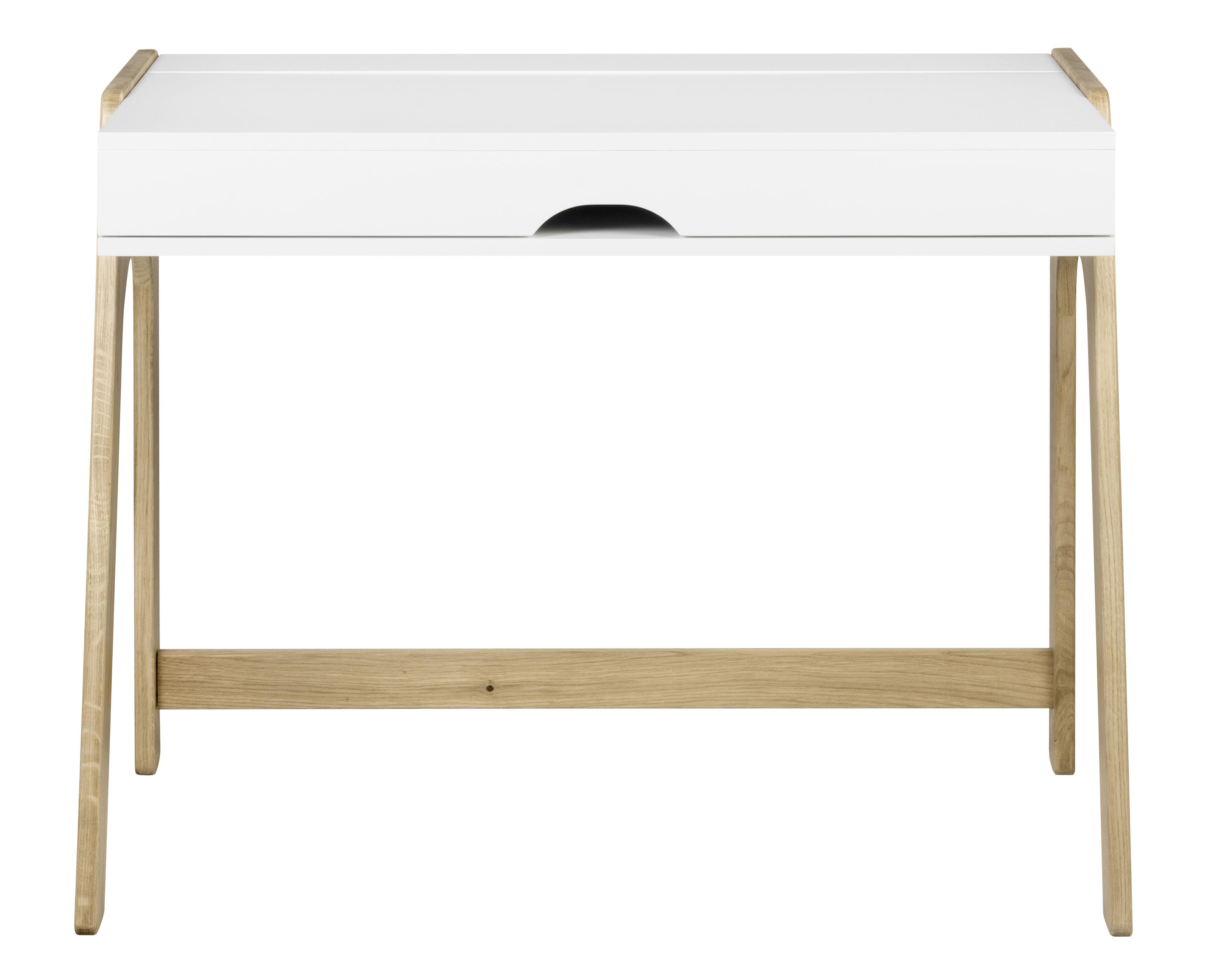 Mobilier - Bureaux - Bureau Willbe / Secrétaire - Plateau rabattable - POP UP HOME - Blanc / Chêne - Aggloméré peint, Chêne massif