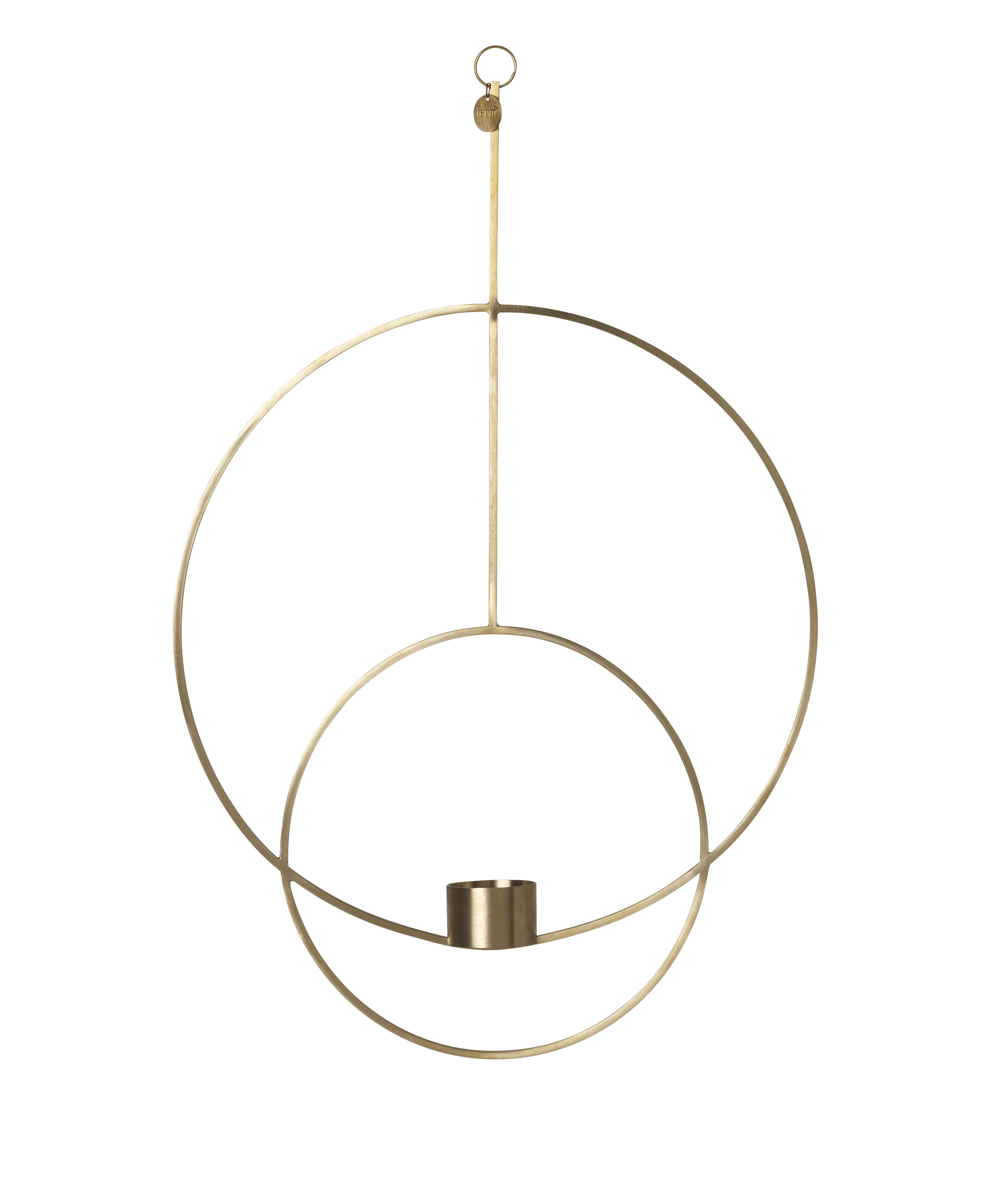 Decoration - Candles & Candle Holders - Circular Candlestick to hang - / L 30 x H 45 cm by Ferm Living - Brass - Solid brass