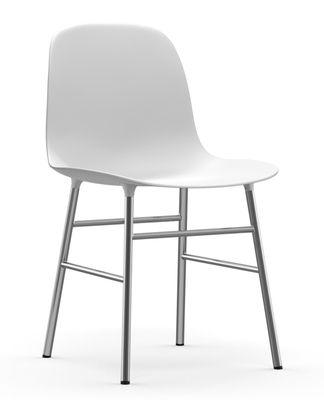 Furniture - Chairs - Form Chair - Chromed leg by Normann Copenhagen - White - Chromed steel, Polypropylene