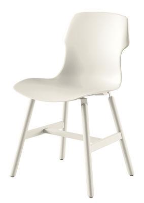 Mobilier - Chaises, fauteuils de salle à manger - Chaise Stereo Metal / Pour l'extérieur - Polypropylène & pieds métal - Casamania - Blanc - Métal peint, Polypropylène