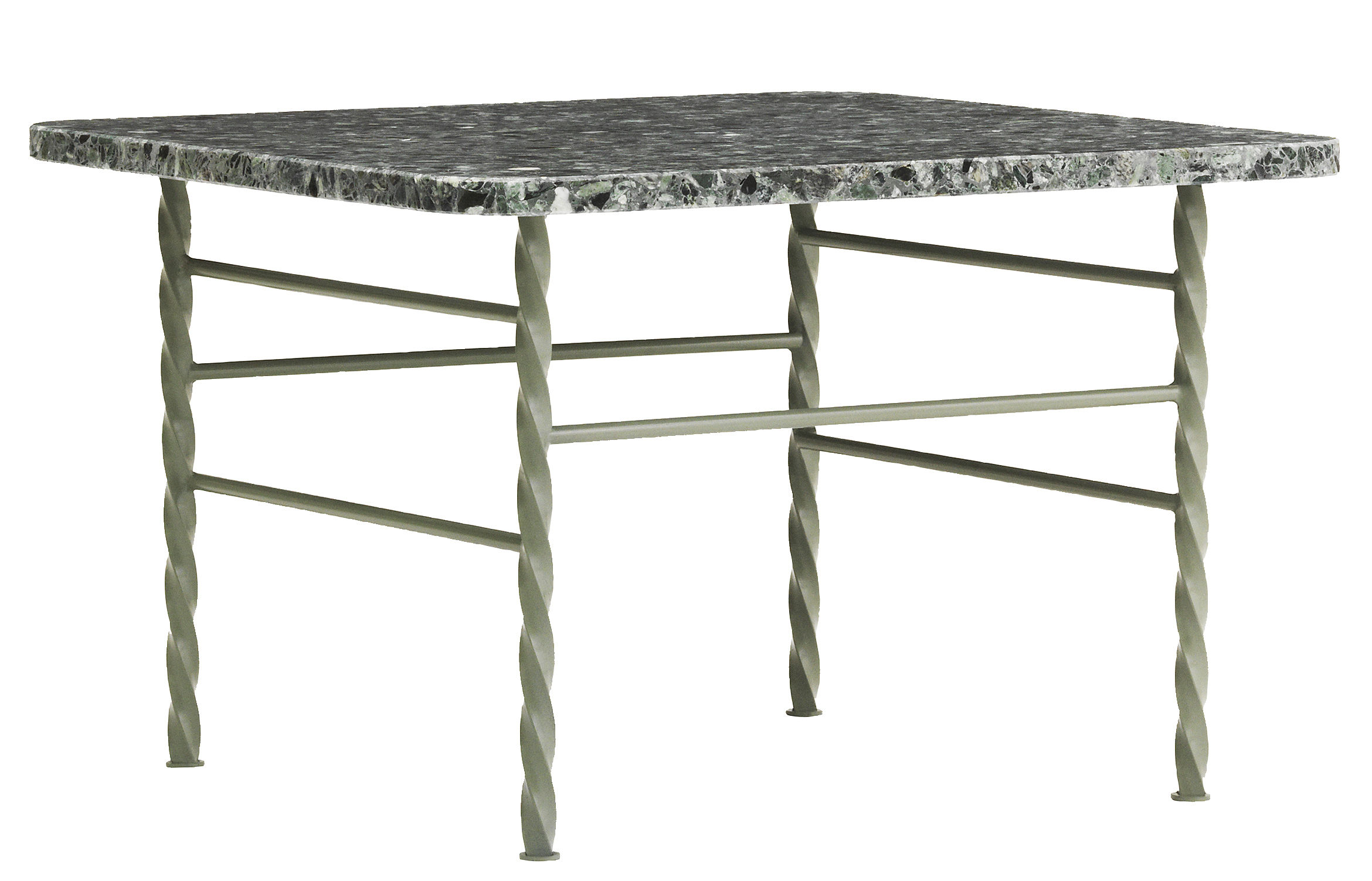 Furniture - Coffee Tables - Terra Large Coffee table - 55 x 55 cm / Terrazzo by Normann Copenhagen - Green - Epoxy lacquered steel, Terrazzo