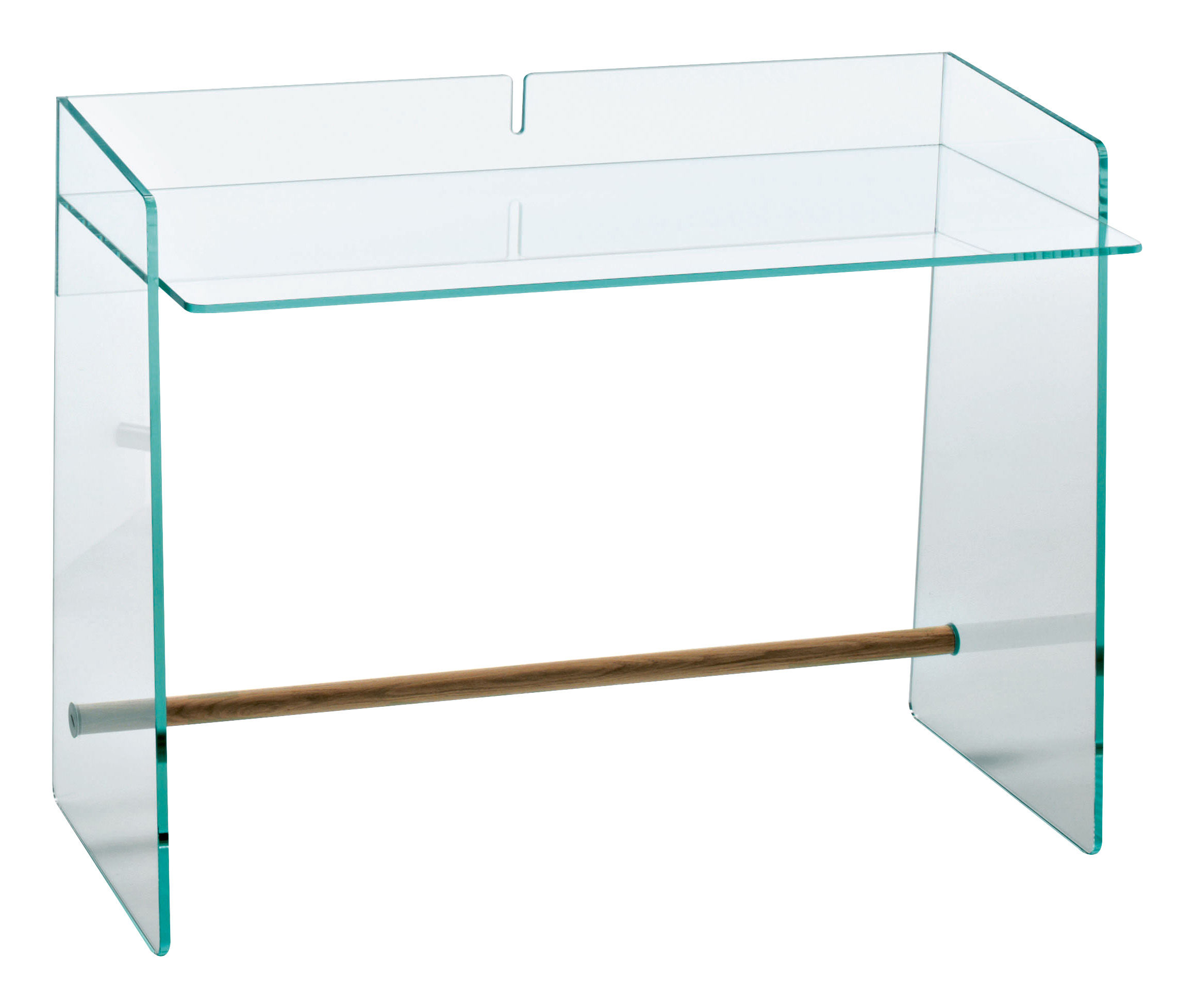 Furniture - Office Furniture - Pirandello Desk - 110 x 49 cm by Glas Italia - Transparent / Natural ash footrest - Glass, Natural ash, Stainless steel