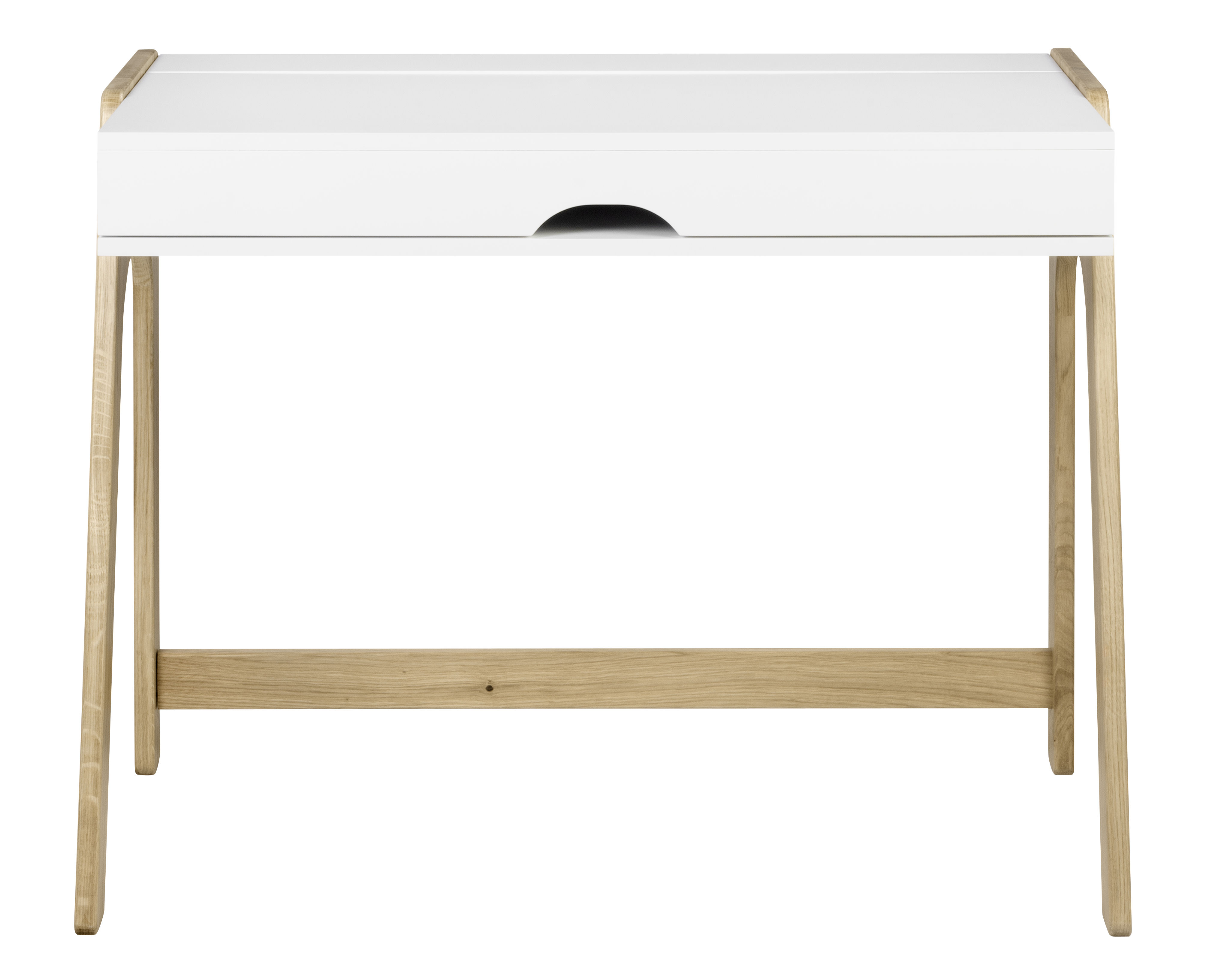 Furniture - Office Furniture - Willbe Desk - / Writing desk - Fold-away top by POP UP HOME - White / Oak - Painted chipboard, Solid oak