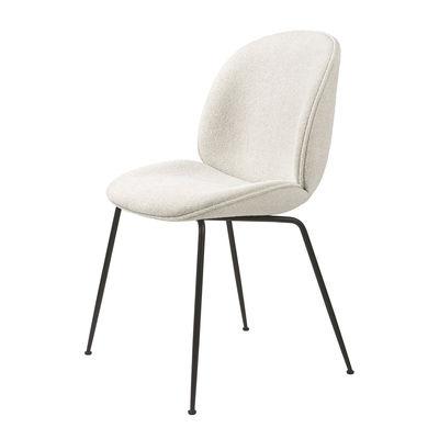 Möbel - Stühle  - Beetle Gepolsterter Stuhl / Gamfratesi - Schlingenflorstoff - Gubi - Weiß (Schlingenflorstoff) / Schwarze Füße - lackierter Stahl, Polyurethan-Schaum, Schlingenpol
