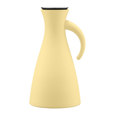 Tableware - Water Carafes & Wine Decanters - Stoppe-goutte Insulated jug - / 1 L - Ø 15.5 x H 29 cm by Eva Solo - Frosted lemon - Glass, Plastic, Stainless steel