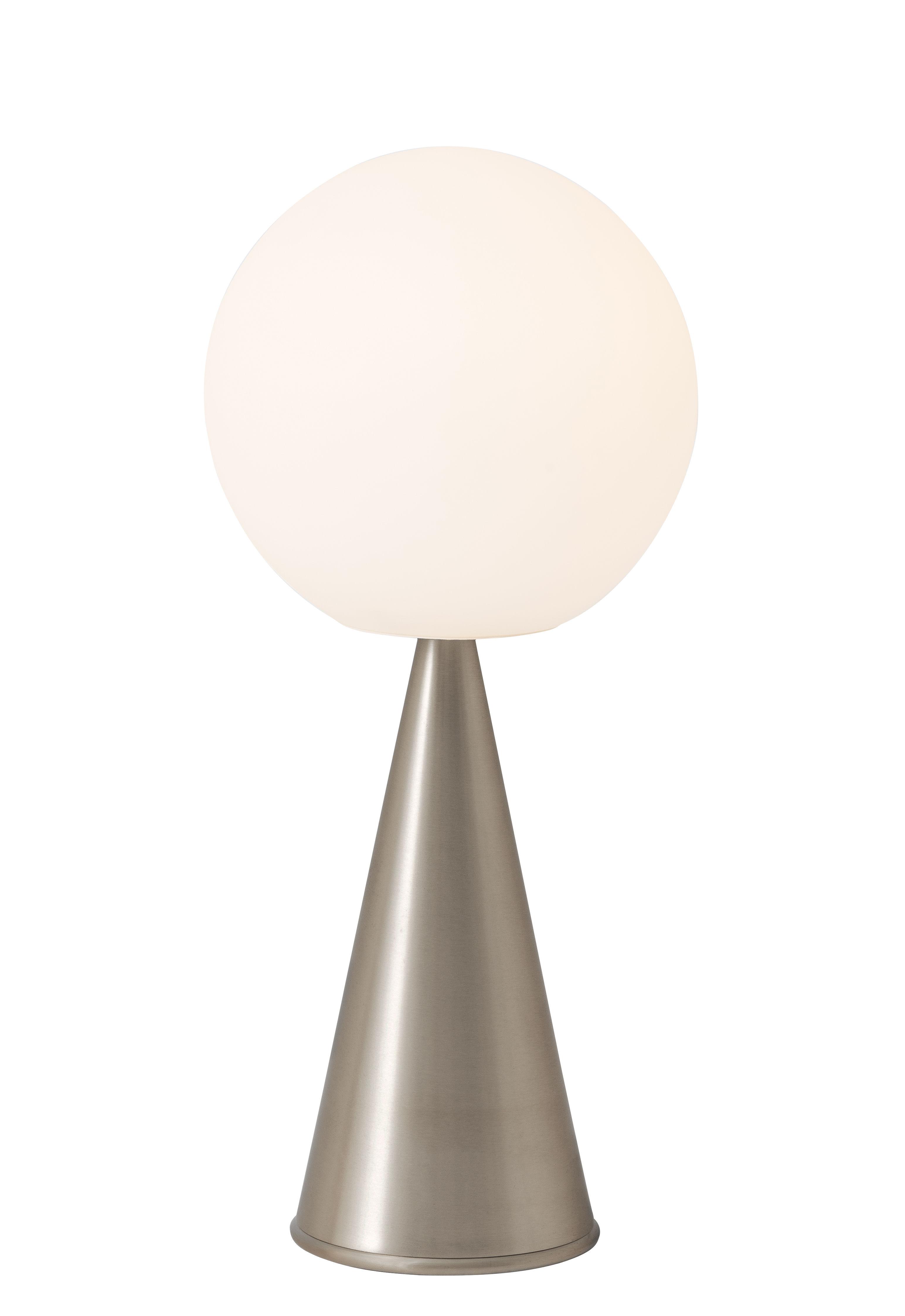Luminaire - Lampes de table - Lampe de table Bilia / H 43 cm - By Gio Ponti (1932) - Fontana Arte - Nickel - Métal nickelé brossé, Verre soufflé satiné