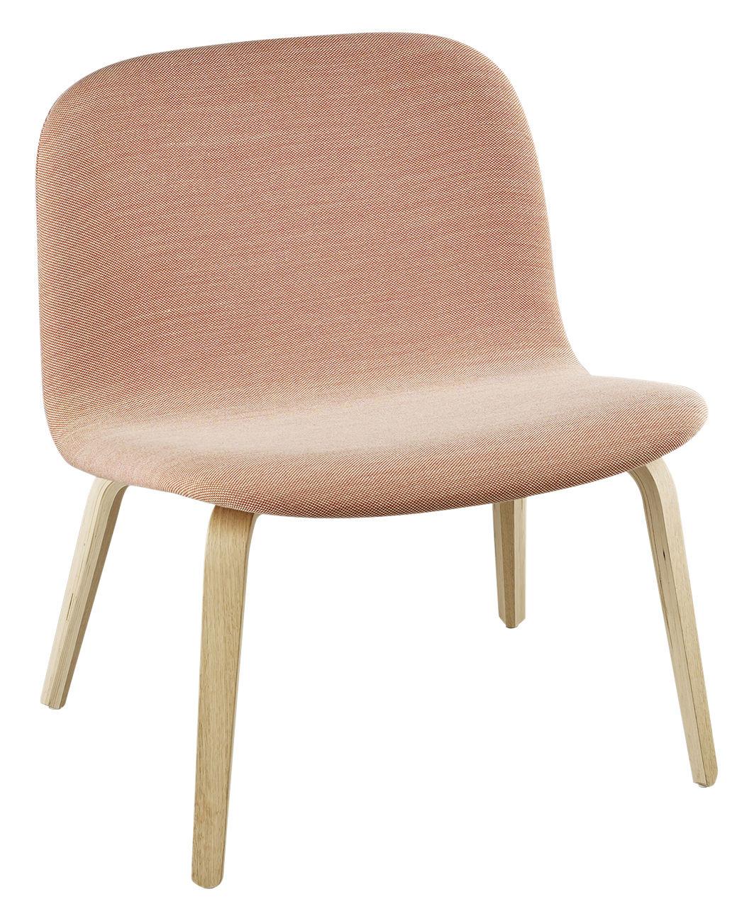 Furniture - Armchairs - Visu Low armchair - Version Tissu - Assise : H 35 cm by Muuto - Wood / Pink fabric - Kvadrat fabric, Painted wood