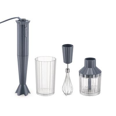 Mixer plongeant Plissé / 500 W - Avec bol gradué, hachoir & fouet - Alessi gris en matière plastique