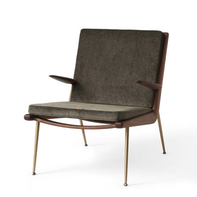 Furniture - Armchairs - Boomerang HM2 (1956) Padded armchair - / With armrests - Walnut by &tradition - Green (Duke Velvet) - Brass, Fabric, HR foam, Solid walnut