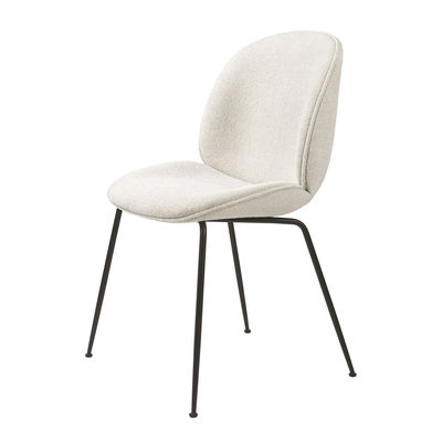 Furniture - Chairs - Beetle Padded chair - / Gamfratesi - Bouclé fabric by Gubi - White (bouclé fabric) / Black legs - Lacquered steel, Polyurethane foam, Terrycloth