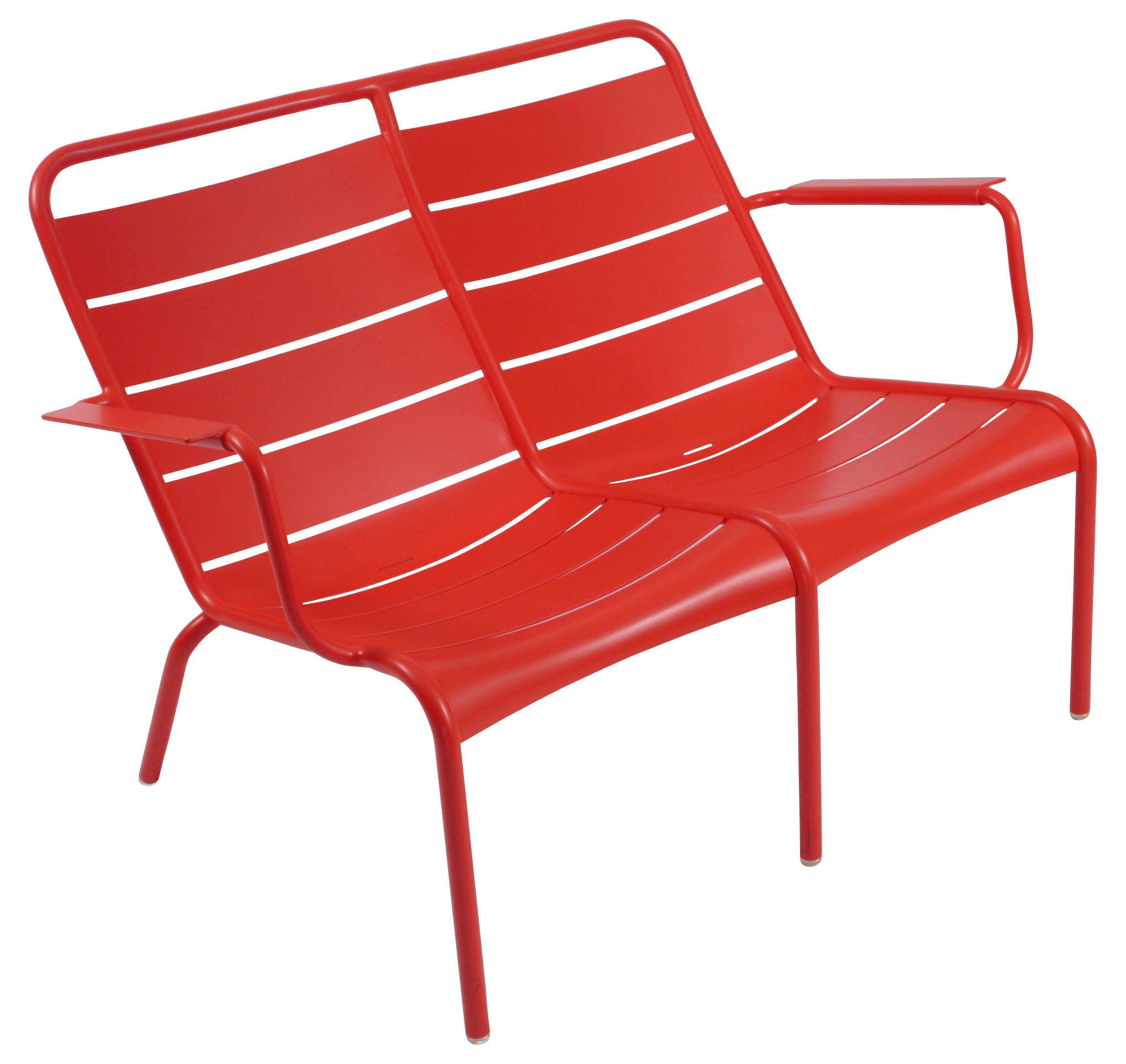 Life Style - Panca con schienale Luxembourg Duo - 2 posti di Fermob - papavero - Alluminio