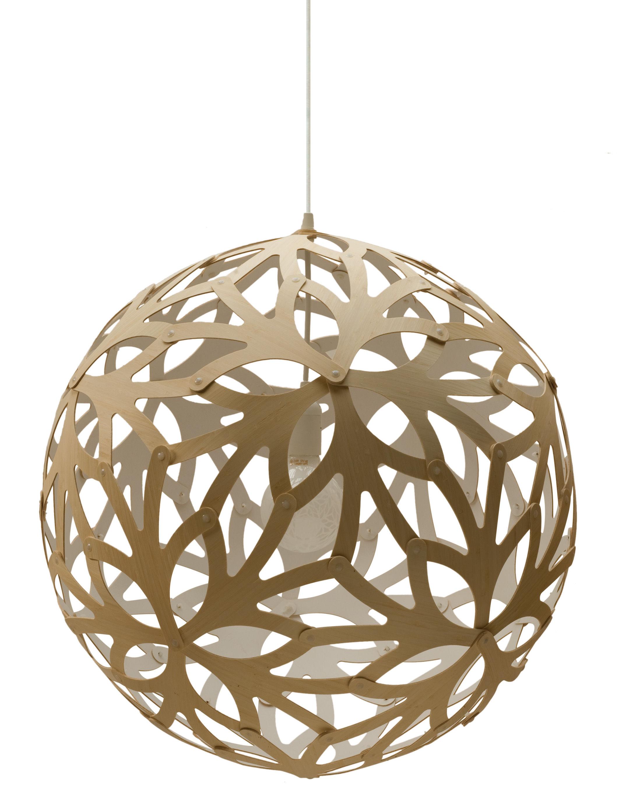 Lighting - Pendant Lighting - Floral Pendant - Ø 60 cm - Bicoloured by David Trubridge - White / Natural wood - Pine