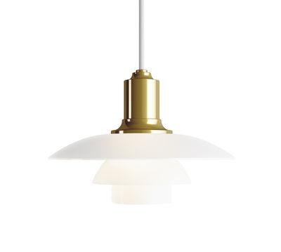 Leuchten - Pendelleuchten - PH 2/1 Pendelleuchte / Ø 20 cm - Louis Poulsen - Messing / Weiß - Messing, mundgeblasenes Glas