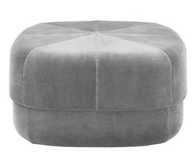 Furniture - Poufs & Floor Cushions - Circus Large Pouf - Coffee table - Large - 65 x 65 cm by Normann Copenhagen - Grey velour - Cotton, Velvet