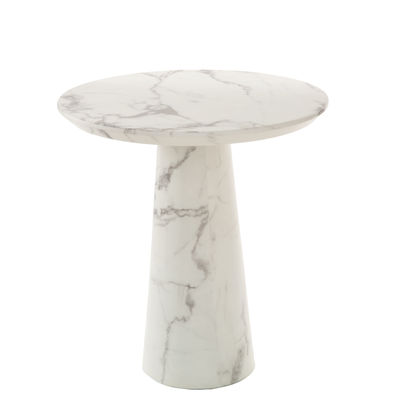 Furniture - Dining Tables - Disc Round table - / Ø 70 x H 75 cm - Marble-effect resin by Pols Potten - White - Resin-coated MDF