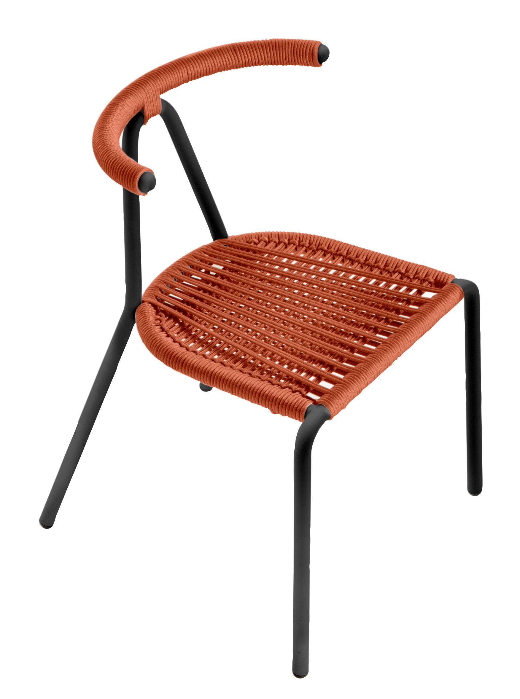 Sottopiatti Rattan Vendita Line.Toro Outdoor Sedia Impilabile Seduta Corda Intrecciata Arancione