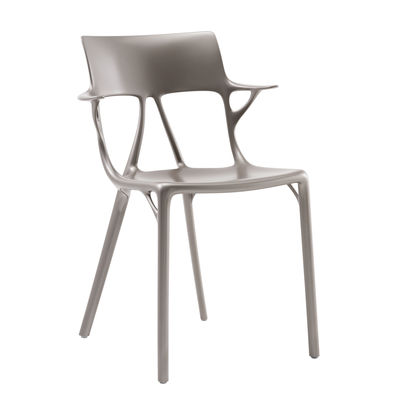 Furniture - Chairs - A.I Stackable armchair - / Designed by artificial intelligence by Kartell - Metallic grey - Recycled thermoplastic technopolymer