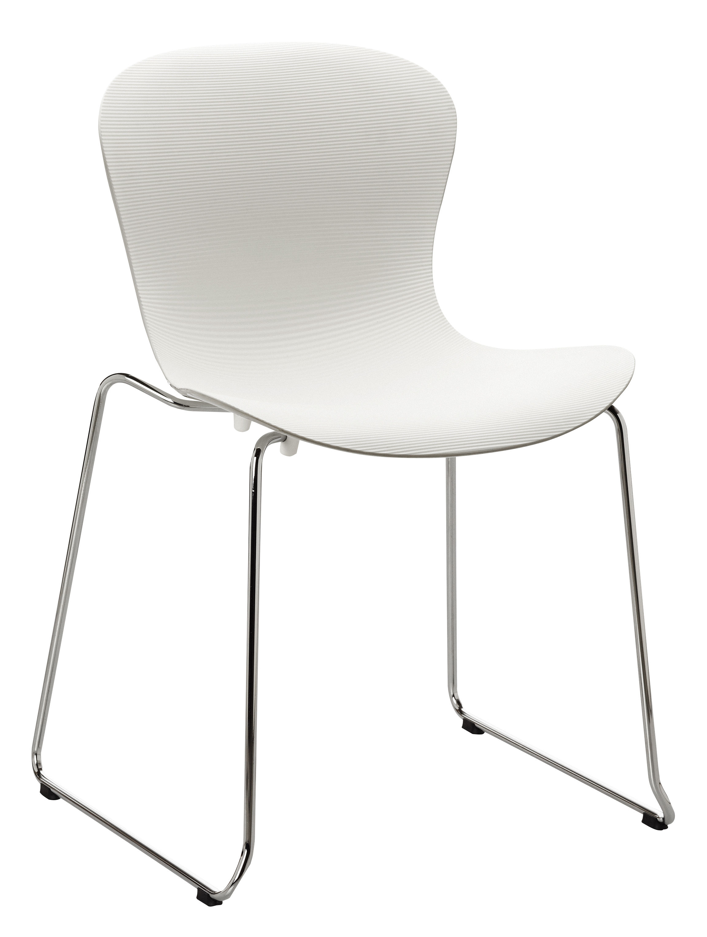 Möbel - Stühle  - Nap Stapelbarer Stuhl / mit Kufengestell - Fritz Hansen - Weiß / Fußgestell chromglänzend - lackierter Stahl, Polyamid