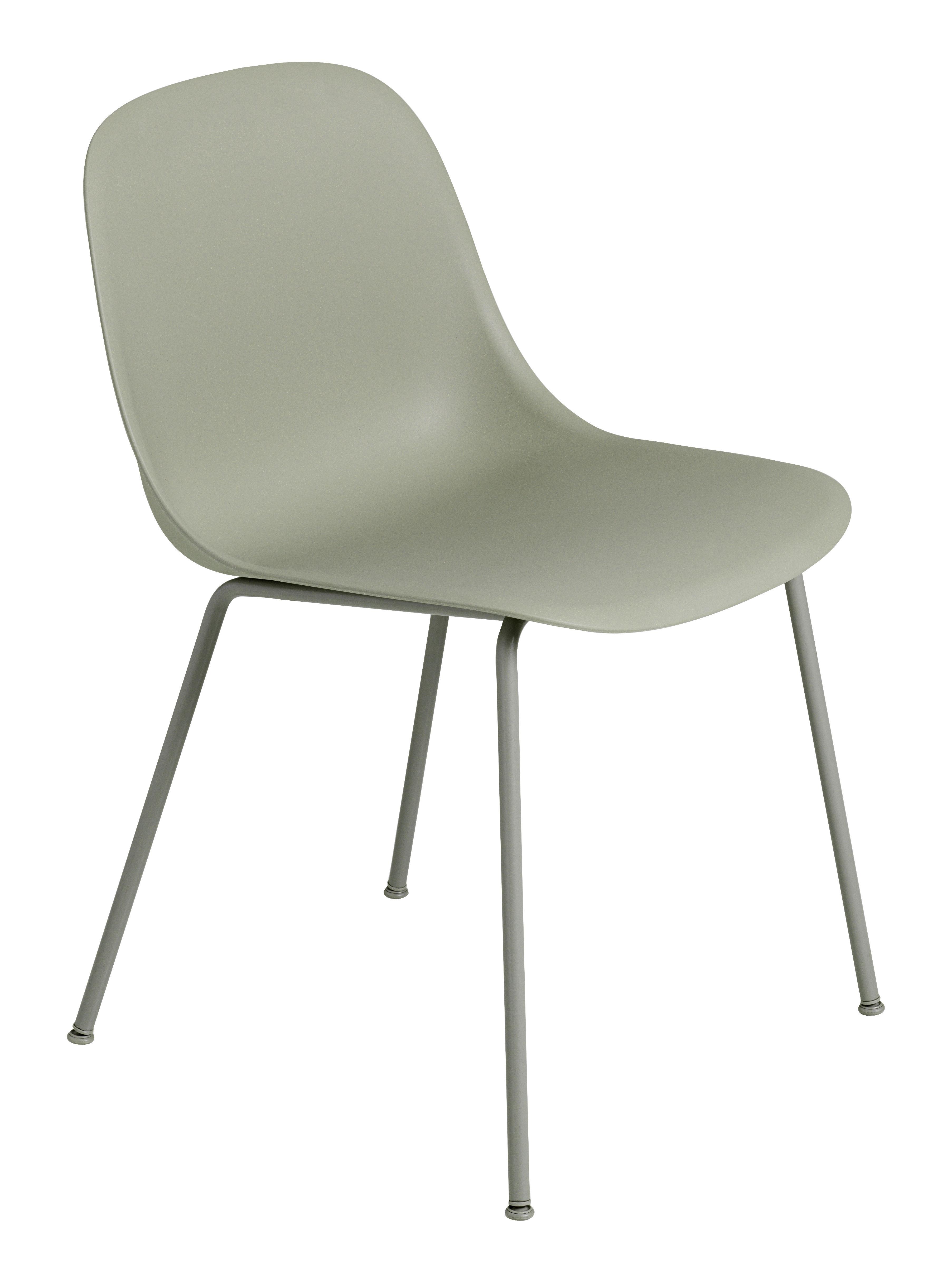 Möbel - Stühle  - Fiber Stuhl / 4-beinig, Stuhlbeine aus Metall - Muuto - Grün / Stuhlbeine grün - Recyceltes Verbundmaterial, Stahl