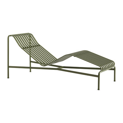 Outdoor - Sun Loungers & Hammocks - Palissade Sun lounger - / R & E Bouroullec - Steel by Hay - Sun lounger / Olive Green - Powder-coated steel