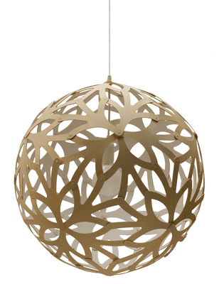 Luminaire - Suspensions - Suspension Floral / Ø 60 cm - Bicolore blanc & bois - David Trubridge - Blanc / Bois naturel - Pin