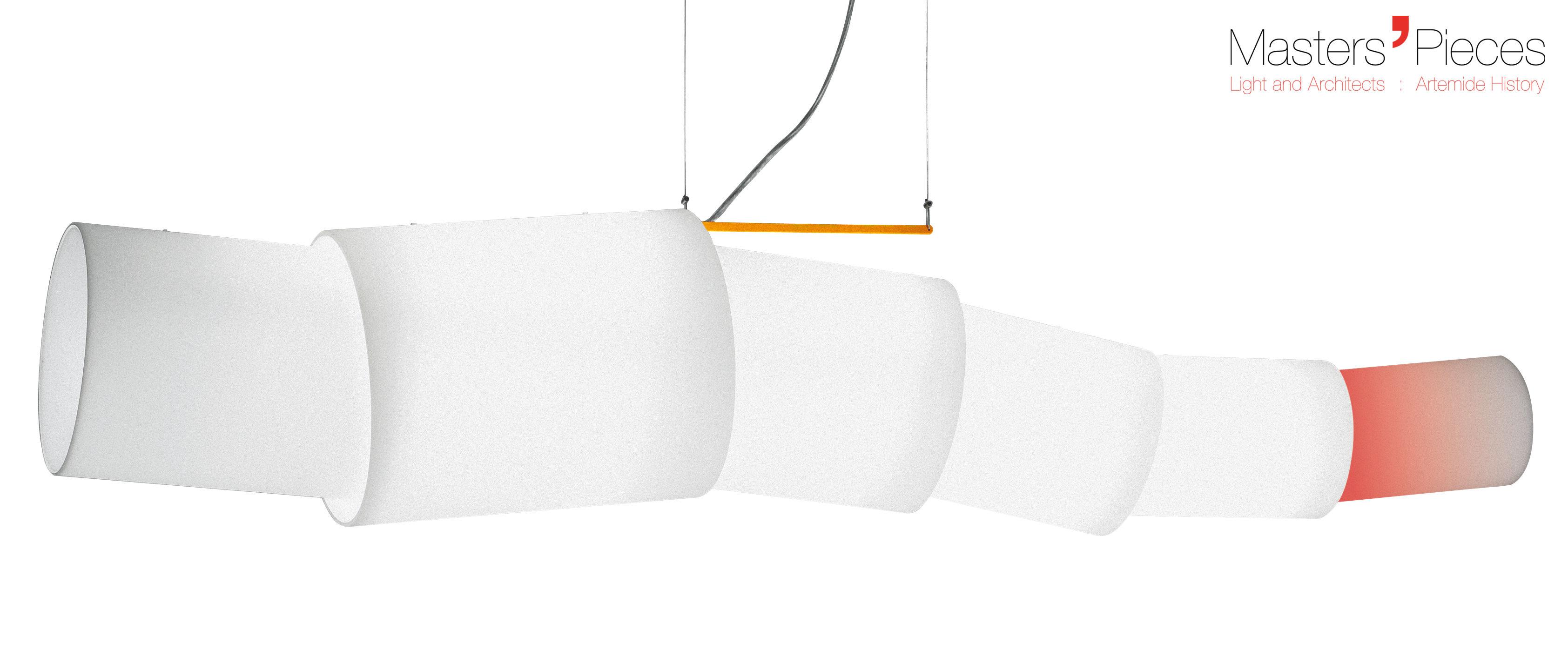Luminaire - Suspensions - Suspension Masters' Pieces - Noto / L 173 cm - 2008 - Artemide - Blanc - Acier, Verre soufflé