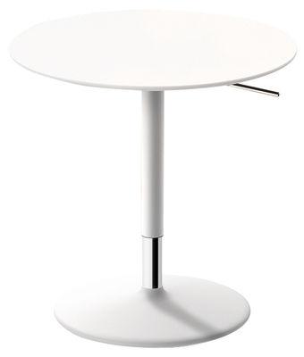 Table à hauteur réglable Pix / Ø 50 cm - H 48-74 cm - Arper blanc en métal/bois