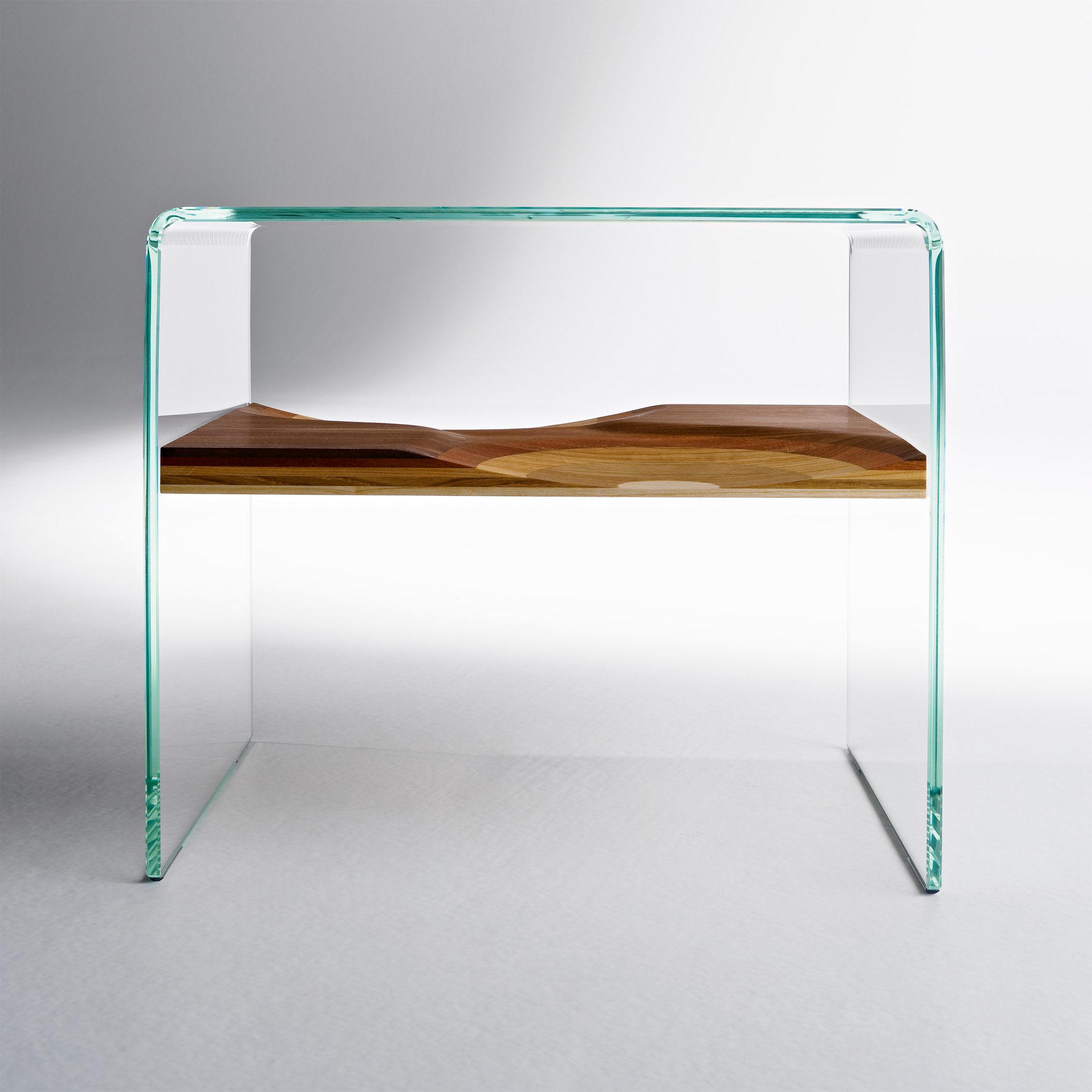 Table de chevet bifronte horm transparent bois naturel made in design - Tables de chevet design ...