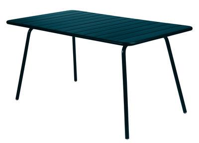 Table Luxembourg / 6 personnes - 143 x 80 cm - Aluminium - Fermob bleu acapulco en métal