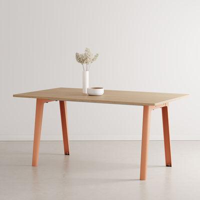 Mobilier - Tables - Table rectangulaire New Modern / 160 x 95 cm - Chêne éco-certifié / 6 à 8 personnes - TIPTOE - Rose Cendré - Acier thermolaqué, Sapin massif plaqué chêne