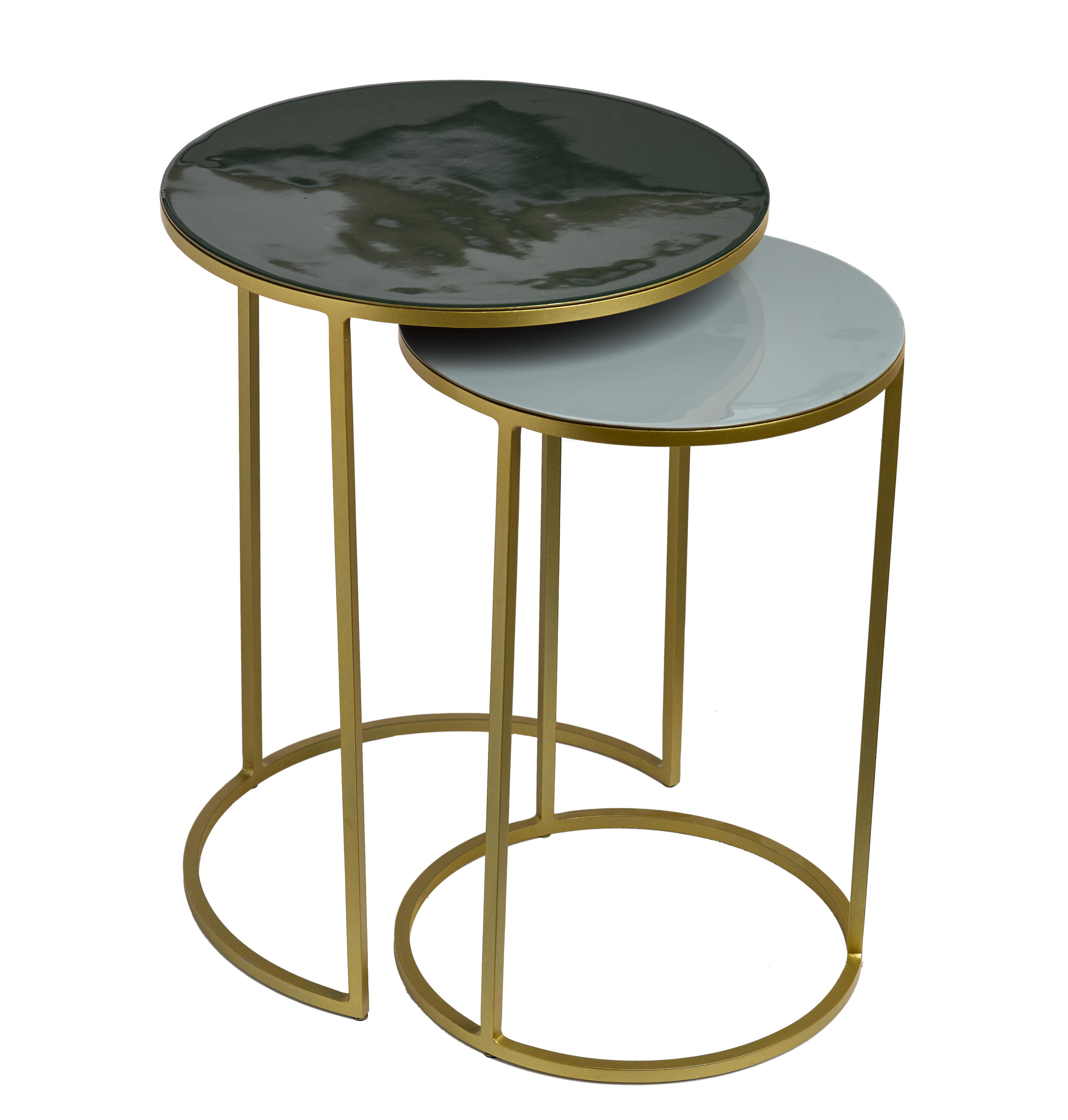 Arredamento - Tavolini  - Tavolino basso Enamel / Set da 2 - Ferro smaltato - Pols Potten - Verde pino & Grigio / Oro - Ferro smaltato, metallo verniciato