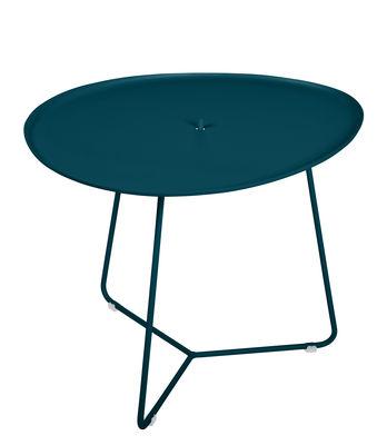 Arredamento - Tavolini  - Tavolino Cocotte - / L 55 x H 43,5 cm - Piano rimovibile di Fermob - Blu Acapulco - Acciaio verniciato