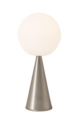 Leuchten - Tischleuchten - Bilia Tischleuchte / H 43 cm - Von Gio Ponti (1932) - Fontana Arte - Nickel - Gebürstetes vernickeltes Metall, Satiniertes mungeblasenes Glas