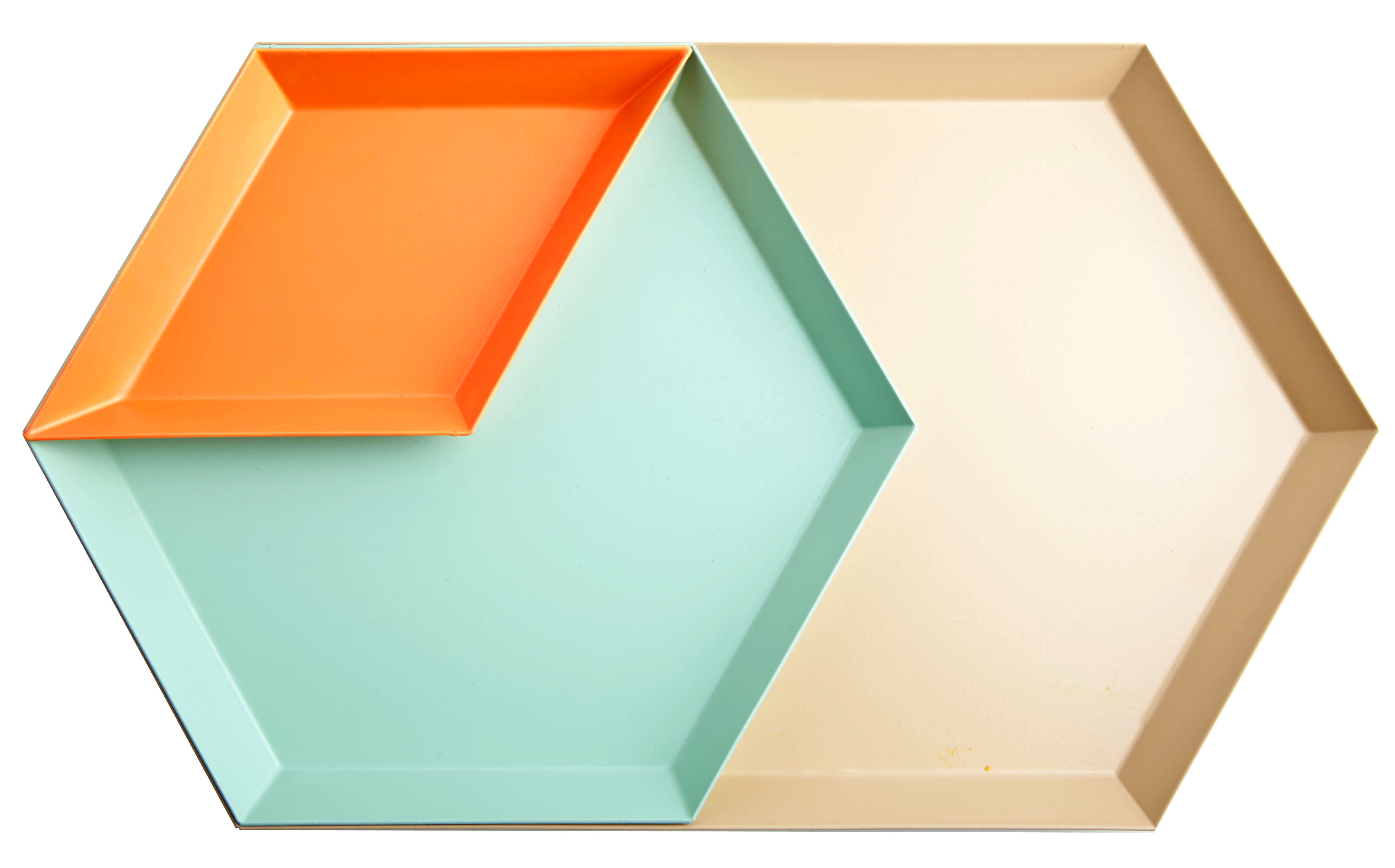 Tableware - Trays - Kaleido Tray by Hay - Apricot, minth, orange - Painted steel
