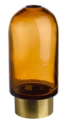 Decoration - Vases - Belt Bullet Vase - / Glass & Brass - H 26 cm by Pols Potten - Amber / Brass - Brass, Glass
